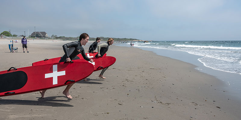 Lifeguard certification test at Scarborough State Beach